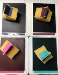 Stempelkissen mit Schwämmen versehen